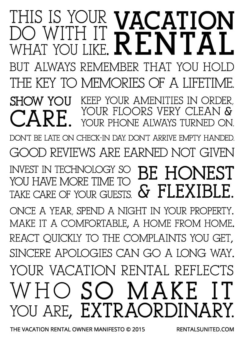 vacation rental owner manifesto