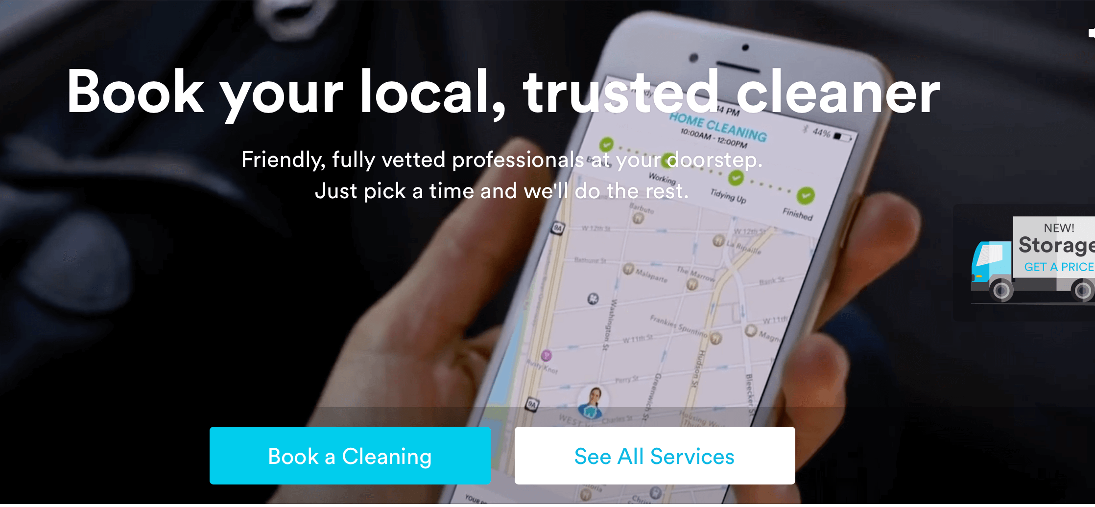 Book a cleaner app, Handy
