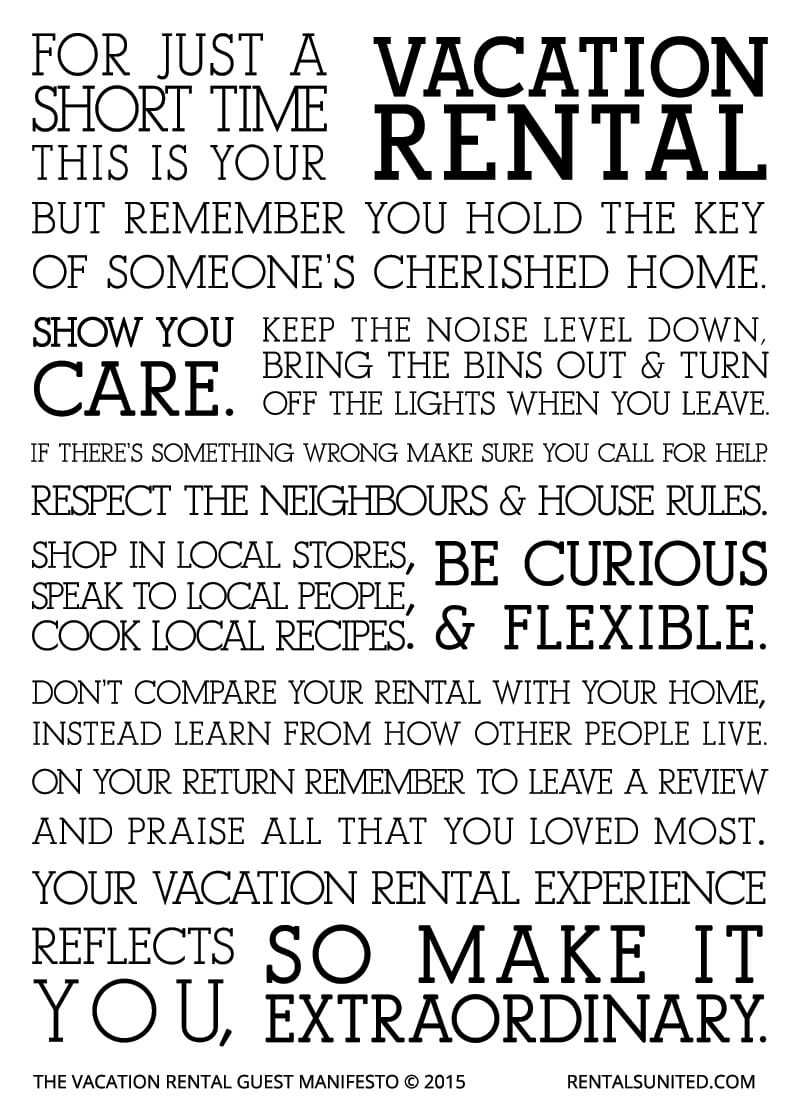 vacation rental guest manifesto