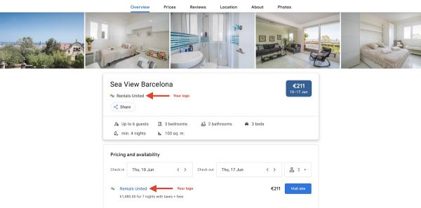 Adding your logo to your Google vacation rentals listings