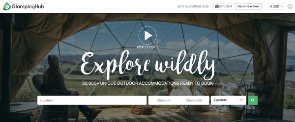 alternative vacation rental site Glamping Hub