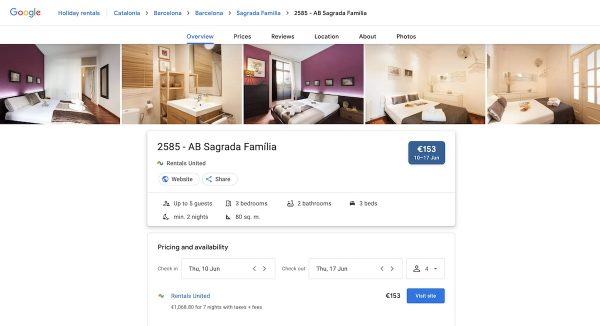 google vacation rentals listing details page