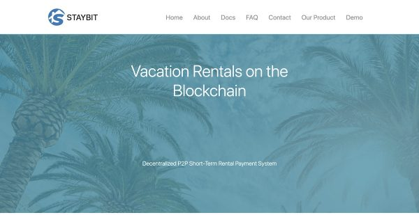 blockchain and vacation rentals - StayBit